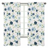 Navy Blue and Pink Watercolor Floral Window Treatment Panels Curtains by Sweet Jojo Designs - Set of 2 - Blush, Green and White Shabby Chic Rose Flower