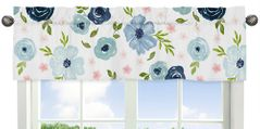 Navy Blue and Pink Watercolor Floral Window Treatment Valance by Sweet Jojo Designs - Blush, Green and White Shabby Chic Rose Flower