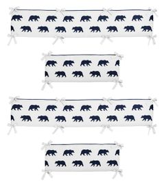 Navy Blue and White Baby Crib Bumper Pad for Big Bear Collection