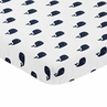 Navy Blue and White Baby Fitted Mini Portable Crib Sheet for Whale Collection by Sweet Jojo Designs