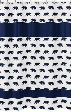 Navy Blue and White Bathroom Fabric Bath Shower Curtain for Big Bear Collection