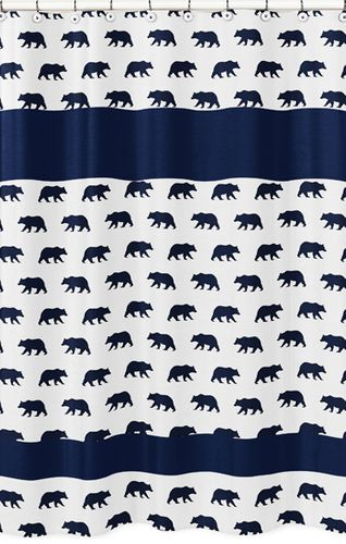 Navy Blue and White Bathroom Fabric Bath Shower Curtain for Big Bear Collection - Click to enlarge