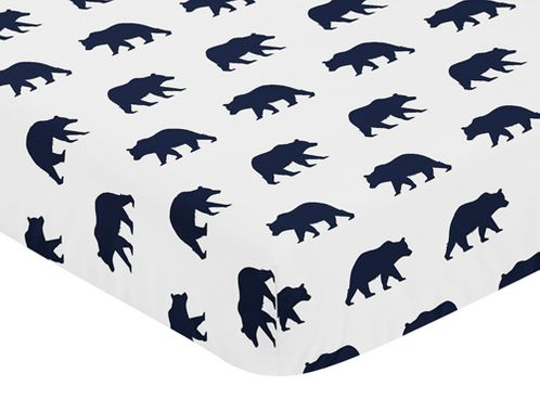 Navy Blue and White Bear Print Baby or Toddler Fitted Crib Sheet for Big Bear Collection - Click to enlarge