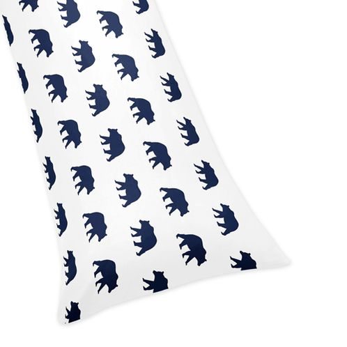 Navy Blue and White Body Pillow Case Cover for Big Bear Collection (Pillow Not Included) - Click to enlarge