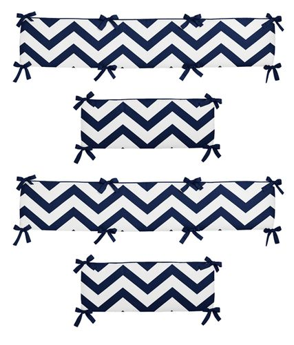 Navy Blue and White Chevron Collection Crib Bumper by Sweet Jojo Designs - Click to enlarge