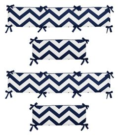 Navy Blue and White Chevron Collection Crib Bumper by Sweet Jojo Designs