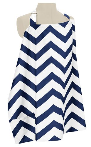Navy Blue and White Chevron Zig Zag Infant Baby Breastfeeding Nursing Cover Up Apron by Sweet Jojo Designs - Click to enlarge