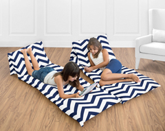 Navy Blue and White Chevron Zig Zag Teen Floor Pillow Case Lounger Cushion Cover by Sweet Jojo Designs