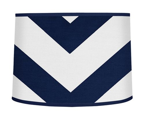 Navy Blue and White Chevron ZigZag Lamp Shade by Sweet Jojo Designs - Click to enlarge