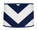 Navy Blue and White Chevron ZigZag Lamp Shade by Sweet Jojo Designs