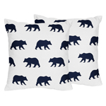 Navy Blue and White Decorative Accent Throw Pillows for Big Bear Collection Set of 2