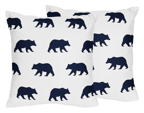 Navy Blue and White Decorative Accent Throw Pillows for Big Bear Collection Set of 2 - Click to enlarge
