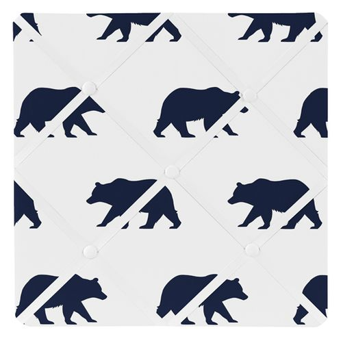 Navy Blue and White Fabric Memory/Memo Photo Bulletin Board for Big Bear Collection - Click to enlarge