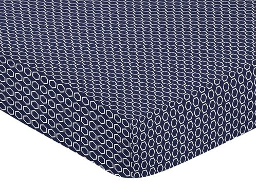 Navy Blue and White Hexagon Print Baby or Toddler Fitted Crib Sheet for Big Bear Collection - Click to enlarge
