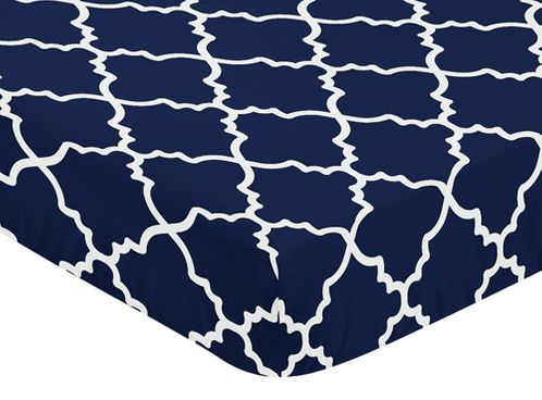Navy Blue and White Modern Baby or Toddler Fitted Crib Sheet for Trellis Lattice Collection by Sweet Jojo Designs - Click to enlarge