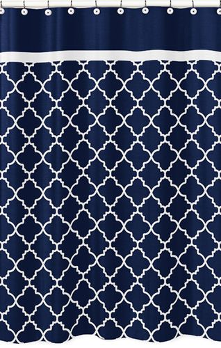 Navy Blue and White Modern Bathroom Fabric Bath Shower Curtain for Trellis Lattice Collection by Sweet Jojo Designs - Click to enlarge