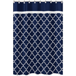 Navy Blue and White Modern Bathroom Fabric Bath Shower Curtain for Trellis Lattice Collection by Sweet Jojo Designs