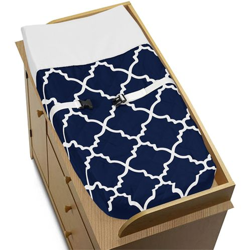 Navy Blue and White Modern Changing Pad Cover for Trellis Lattice Collection by Sweet Jojo Designs - Click to enlarge