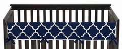 Navy Blue and White Modern Long Front Crib Rail Guard Baby Teething Cover Protector Wrap for Trellis Lattice Collection by Sweet Jojo Designs