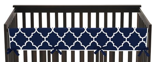 Navy Blue and White Modern Long Front Crib Rail Guard Baby Teething Cover Protector Wrap for Trellis Lattice Collection by Sweet Jojo Designs - Click to enlarge