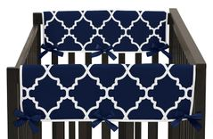 Navy Blue and White Modern Side Crib Rail Guards Baby Teething Cover Protector Wrap for Trellis Lattice Collection by Sweet Jojo Designs - Set of 2