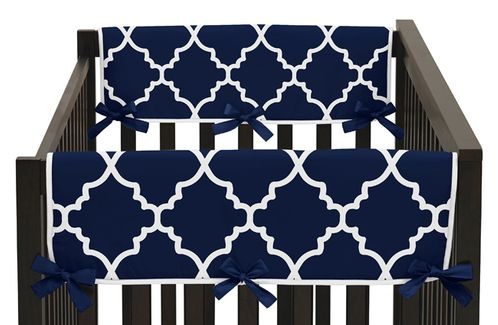 Navy Blue and White Modern Side Crib Rail Guards Baby Teething Cover Protector Wrap for Trellis Lattice Collection by Sweet Jojo Designs - Set of 2 - Click to enlarge