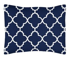 Navy Blue and White Modern Standard Pillow Sham for Trellis Lattice Collection by Sweet Jojo Designs