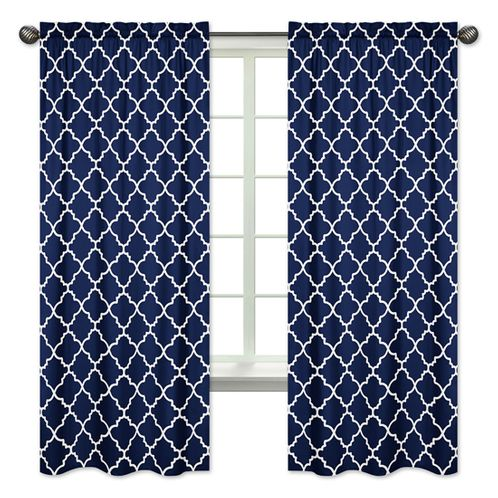 Navy Blue and White Modern Window Treatment Panels Curtains for Trellis Lattice Collection by Sweet Jojo Designs - Set of 2 - Click to enlarge
