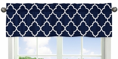 Navy Blue and White Modern Window Treatment Valance for Trellis Lattice Collection by Sweet Jojo Designs