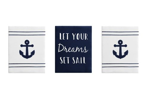 Navy Blue and White Nautical Wall Art Room Decor Hangings for Baby, Nursery, Kids and Childrens Anchors Away Collection by Sweet Jojo Designs - Set of 3 - Click to enlarge