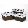 Navy Blue and White One Size Fits Most Basket Liners for Big Bear Collection Set of 3