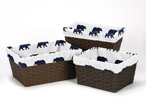 Navy Blue and White One Size Fits Most Basket Liners for Big Bear Collection Set of 3 - Click to enlarge
