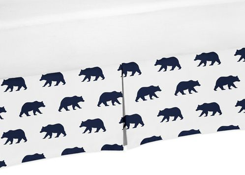 Navy Blue and White Pleated Queen Bed Skirt Dust Ruffle for Big Bear Collection - Click to enlarge