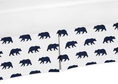 Navy Blue and White Pleated Queen Bed Skirt Dust Ruffle for Big Bear Collection