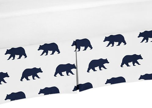 Navy Blue and White Pleated Toddler Bed Skirt Dust Ruffle for Big Bear Collection - Click to enlarge