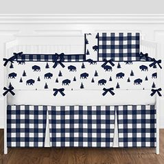 Navy Blue and White Rustic Country Buffalo Plaid Check Baby Boy Crib Bedding Set with Bumper by Sweet Jojo Designs - 9 pieces