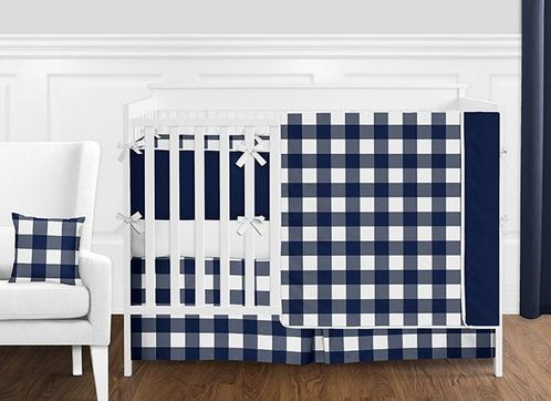 Navy Blue and White Rustic Country Buffalo Plaid Check Baby Boy Crib Bedding Set with Bumper by Sweet Jojo Designs - 9 pieces - Click to enlarge