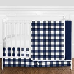 Navy Blue and White Rustic Country Buffalo Plaid Check Baby Boy Crib Bedding Set without Bumper by Sweet Jojo Designs - 4 pieces