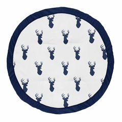 Navy Blue and White Stag Playmat Tummy Time Baby and Infant Play Mat for Woodland Deer Collection by Sweet Jojo Designs