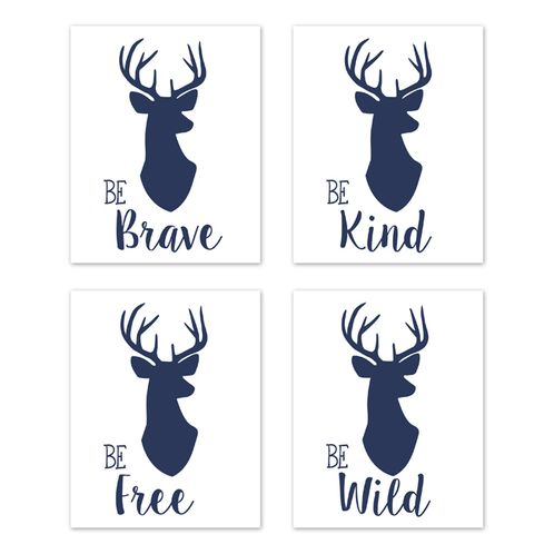 Navy Blue and White Stag Wall Art Prints Room Decor for Baby, Nursery, and Kids for Woodland Deer Collection by Sweet Jojo Designs - Set of 4 - Be Brave, Be Kind, Be Wild, Be Free - Click to enlarge