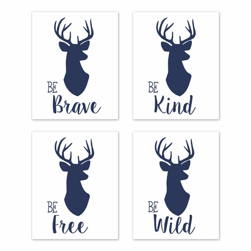 Navy Blue And White Stag Wall Art Prints Room Decor For Baby Nursery
