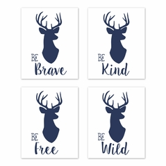 Navy Blue and White Stag Wall Art Prints Room Decor for Baby, Nursery, and Kids for Woodland Deer Collection by Sweet Jojo Designs - Set of 4 - Be Brave, Be Kind, Be Wild, Be Free