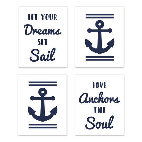 Navy Blue and White Wall Art Prints Room Decor for Baby, Nursery, and Kids for Anchors Away Collection by Sweet Jojo Designs - Set of 4 - Let Your Dreams Set Sail - Click to enlarge