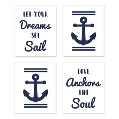 Navy Blue and White Wall Art Prints Room Decor for Baby, Nursery, and Kids for Anchors Away Collection by Sweet Jojo Designs - Set of 4 - Let Your Dreams Set Sail