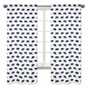 Navy Blue and White Window Treatment Panels Curtains for Big Bear Collection Set of 2