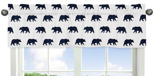 Navy Blue and White Window Treatment Valance for Big Bear Collection - Click to enlarge