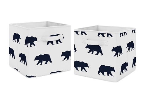 Navy Blue and White Woodland Organizer Storage Bins for Big Bear Collection by Sweet Jojo Designs - Set of 2 - Click to enlarge