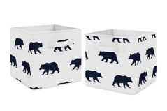 Navy Blue and White Woodland Organizer Storage Bins for Big Bear Collection by Sweet Jojo Designs - Set of 2