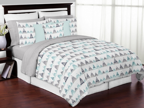 Navy Blue, Aqua and Grey Aztec Mountains Boy or Girl Full / Queen Kid Childrens Teen Bedding Comforter Set by Sweet Jojo Designs - 3 pieces - Click to enlarge