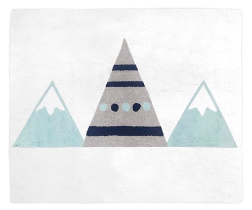 Navy Blue, Aqua and Grey Aztec Accent Floor Rug or Bath Mat for Mountains Collection by Sweet Jojo Designs - Click to enlarge